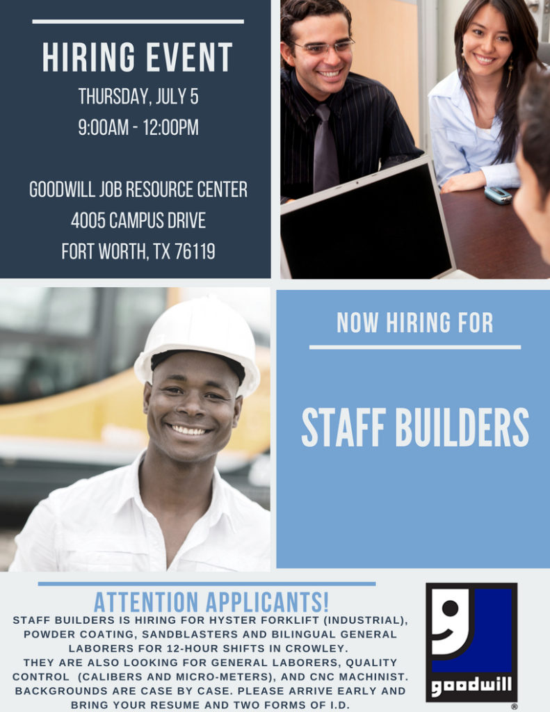 Hiring Event Staff Builders Goodwill Industries Fort Worth