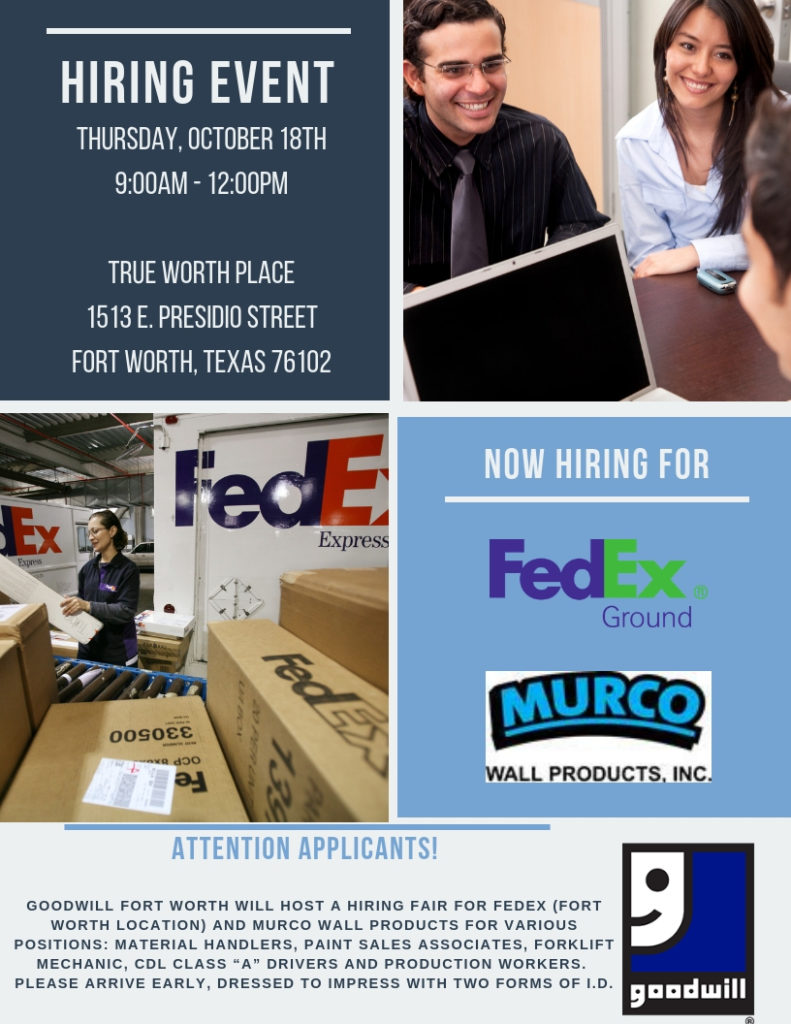 Hiring Event Fedex Ground Murco Wall Products Goodwill