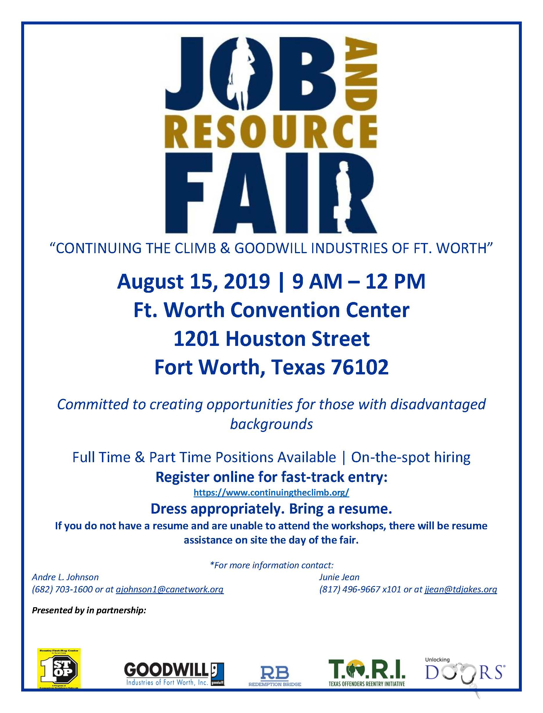 Job And Resource Fair Continuing The Climb Goodwill Fort Worth Goodwill Industries Fort Worth