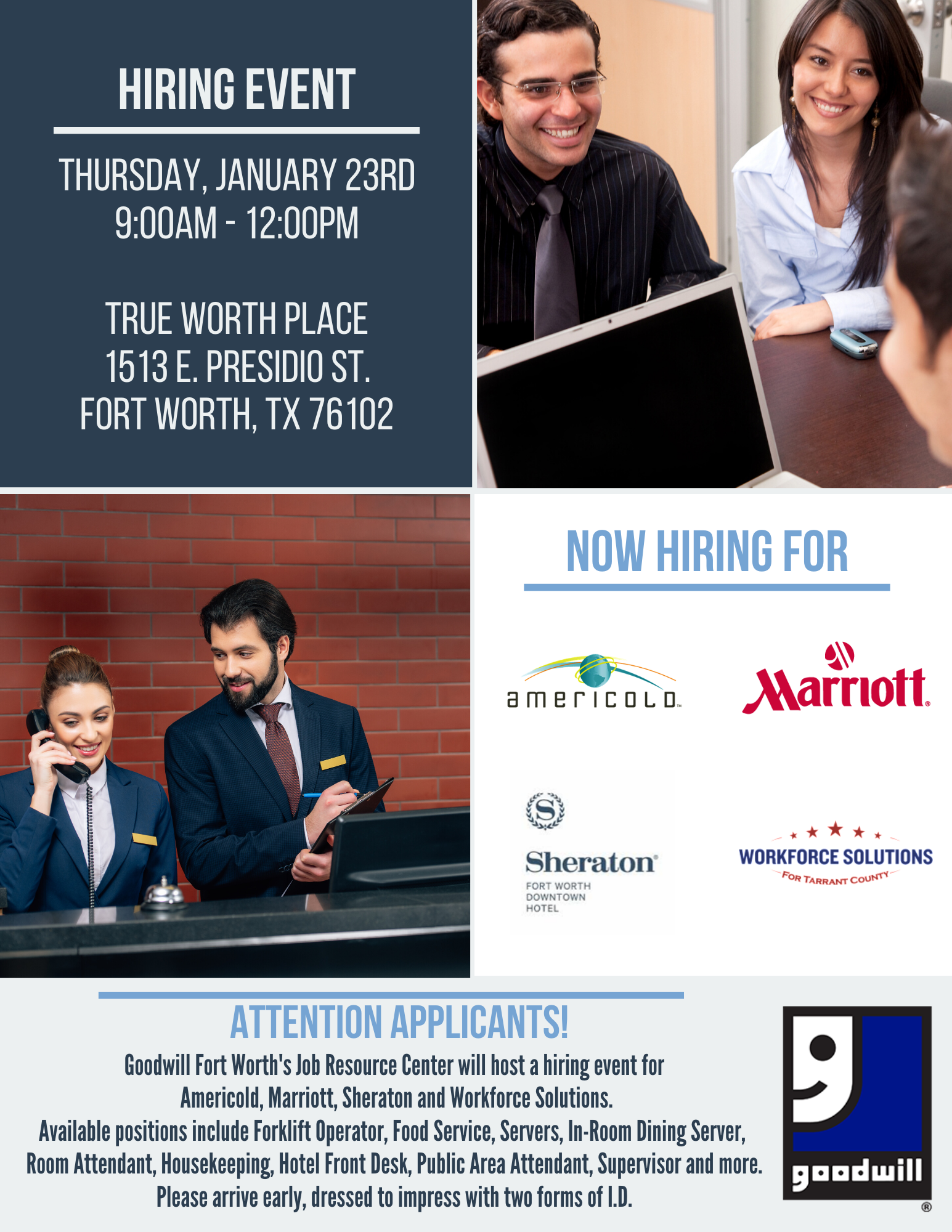 Fort Worth Job Resource Center Hiring Event Goodwill Industries Fort Worth